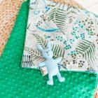 """Neutralių spalvų (žalias) pledas kūdikiui """"Paparčiai"""""""