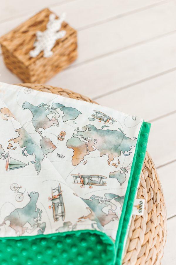 """Neutralių spalvų (žalias) pledas kūdikiui """"Pasaulio žemėlapis"""""""