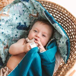 """Mėlynas pledukas užklotukas kūdikiui """"Afrika"""""""