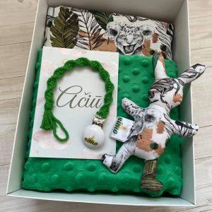 Dovanų dėžutė su žaliu pleduku