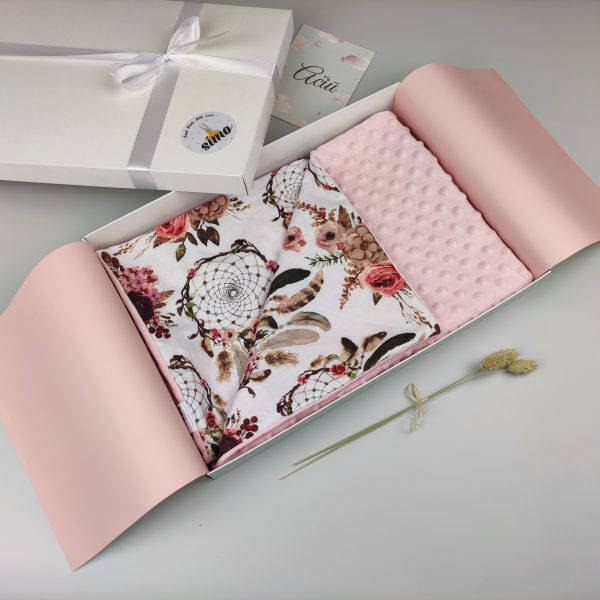 pink minky blanket boho